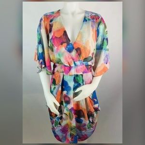 City Shic Water Color 3/4 Sleeve Dress